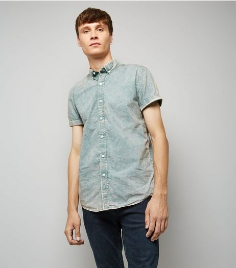 Light Green Acid Wash Short Sleeve Shirt | New Look