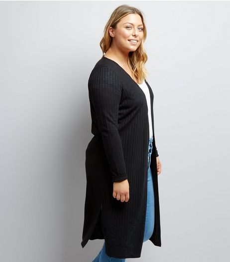 Curves Black Ribbed Midi Cardigan | New Look