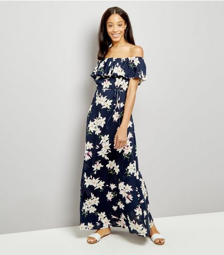 AX Paris Navy Floral Print Bardot Neck Maxi Dress | New Look
