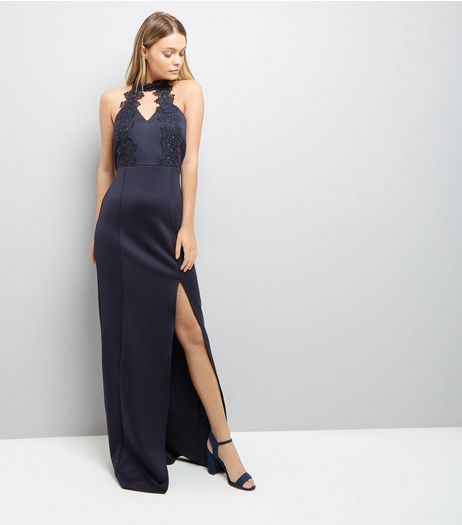 AX Paris Navy Crochet Neck Maxi Dress | New Look