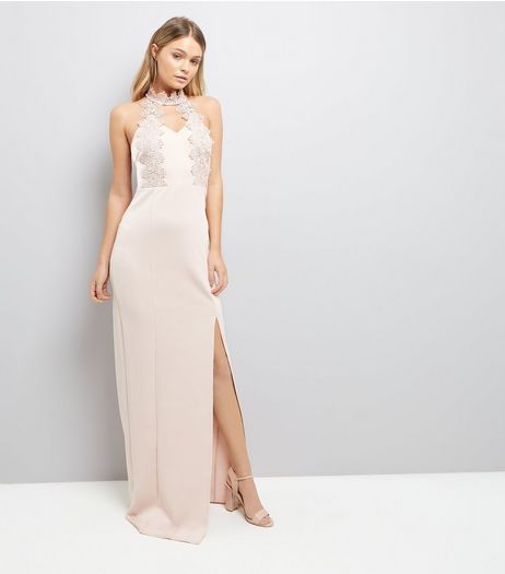 AX Paris Pink Crochet Detail Maxi Dress  | New Look