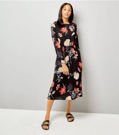 AX Paris Black Floral Print Midi Dress | New Look