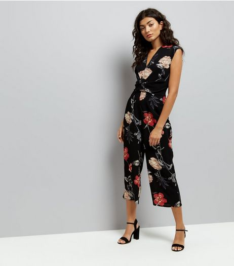 AX Paris Black Floral Culotte Jumpsuit | New Look