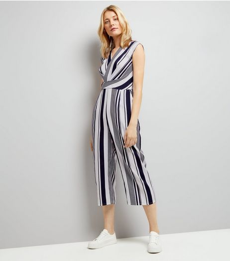 AX Paris Blue Stripe Wrap Front Jumpsuit | New Look
