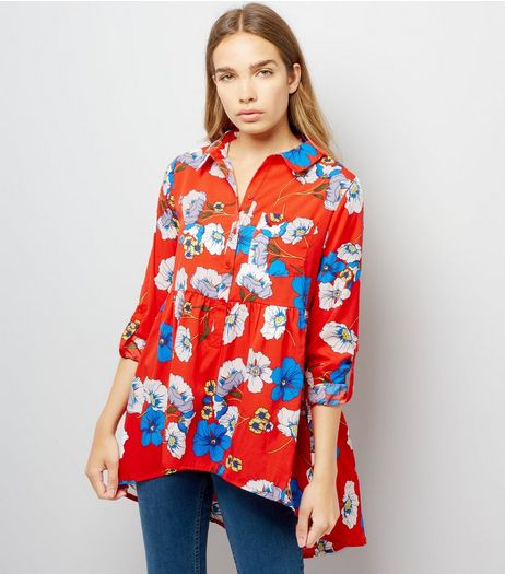 Influence Red Floral Print Blouse | New Look