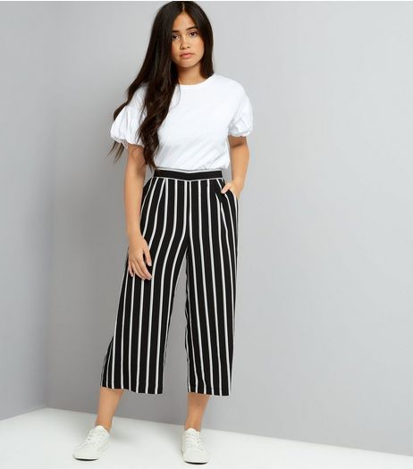 Teens Black Stripe Crop Wide Leg Trousers | New Look