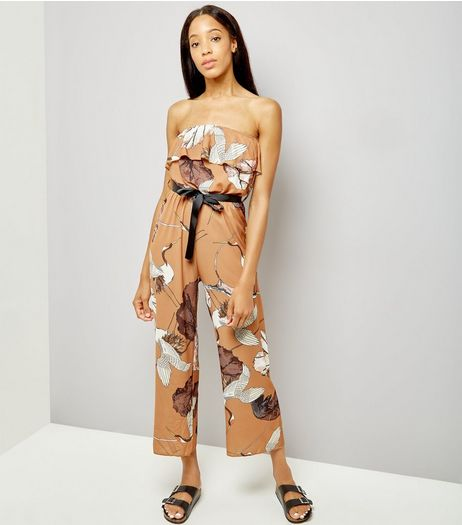 Loving This Brown Bird Print Jumpsuit  | New Look