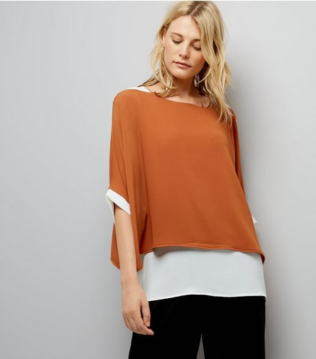 Brown Loose Layered Contrast Top | New Look