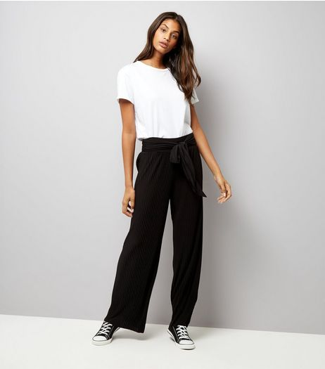Loving This Black Pleated Tie Waist Trousers  | New Look