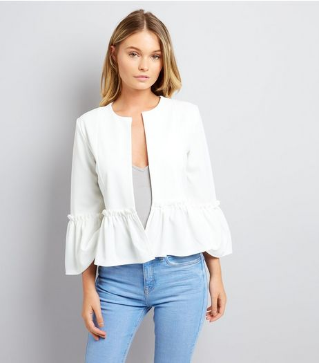 Cameo Rose White Frill Hem Jacket | New Look