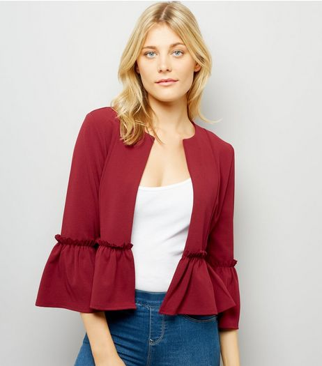 Cameo Rose Burgundy Peplum Jacket | New Look