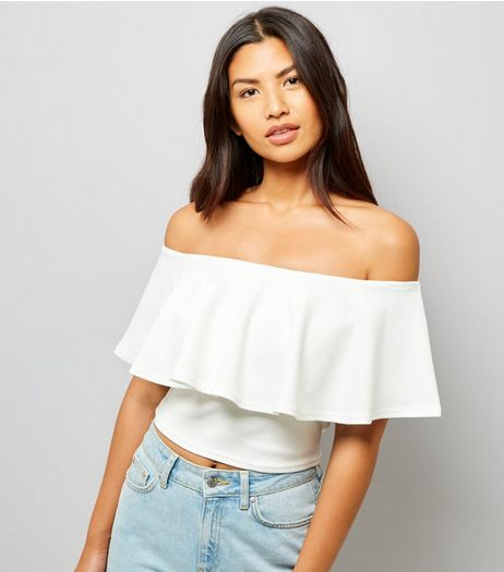 Cameo Rose White Frill Trim Bardot Neck Top | New Look