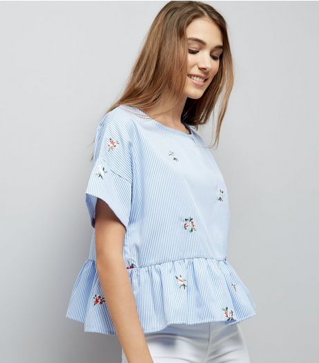 Cameo Rose Blue Stripe Floral Embroidered Top | New Look