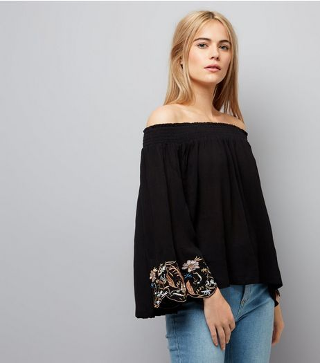 Cameo Rose Black Embroidered Sleeve Bardot Neck Top | New Look