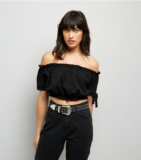 Cameo Rose Black Bardot Neckline Crop Top | New Look