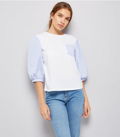 Cameo Rose White Contrast Puffed Sleeve Top | New Look