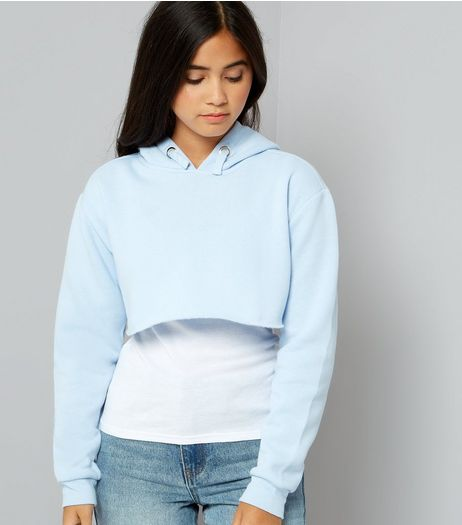 Teens Pale Blue Cropped Hoodie | New Look