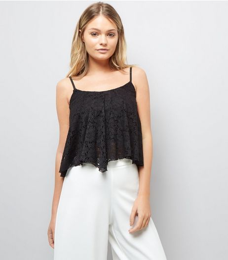 Black Lace Hanky Hem Crop Top | New Look