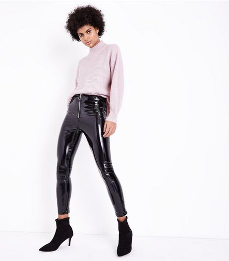 Parisian Black Leather-Look Skinny Trousers | New Look