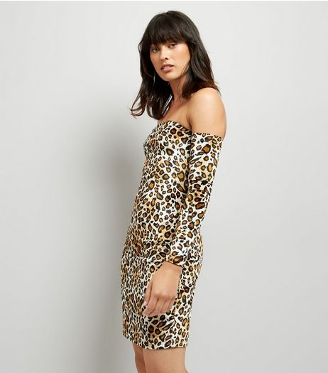 Parisian Leopard Print Bardot Neckline Bodycon Dress | New Look