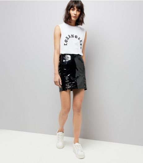Parisian Black Shiny Leather-Look Lace Up Skirt | New Look