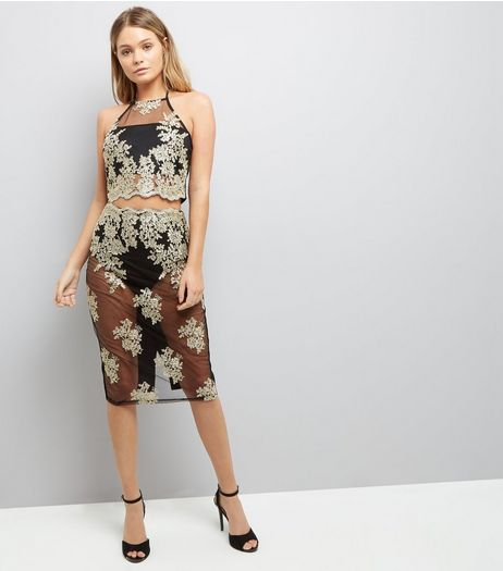 Parasian Embellished Sheer Bodycon Midi Skirt | New Look