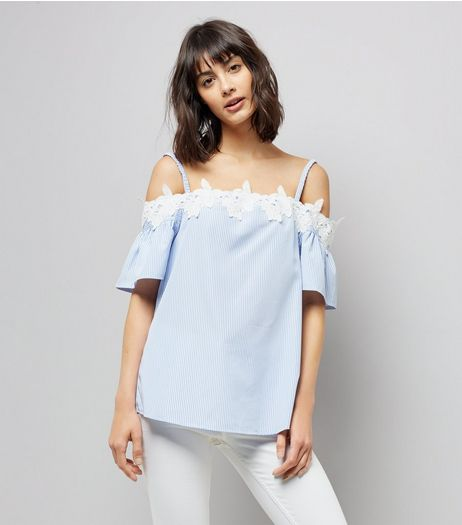 Tall Blue Stripe Crochet Trim Cold Shoulder Top | New Look