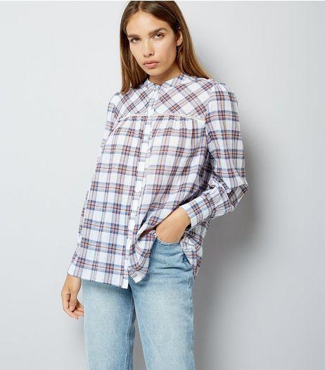 White Check Print Crochet Trim Shirt | New Look