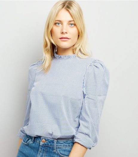 Blue Stripe Frill Neck Blouse | New Look