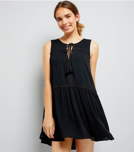 Apricot Black Tassel Front Mini Dress | New Look