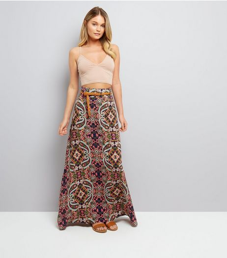 Apricot Navy Paisley Print Belted Maxi Skirt  | New Look