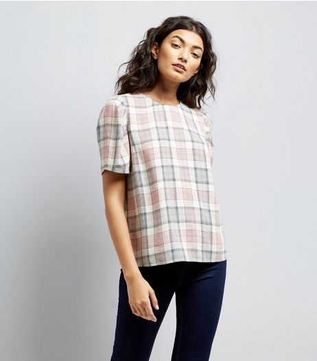 White Check Puff Sleeve Top | New Look