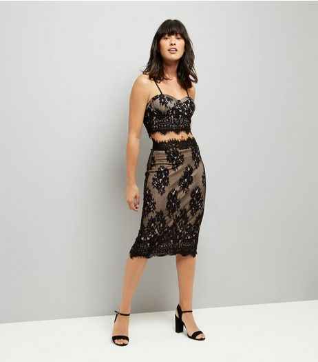 Parisian Black Scalloped Lace Midi Skirt | New Look