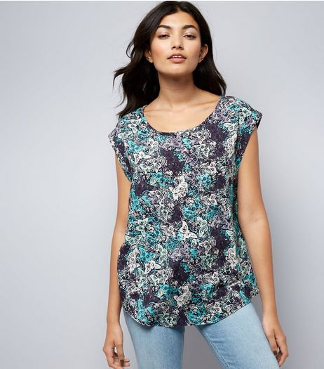 Apricot Navy Butterfly Print Roll Sleeve Top | New Look