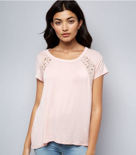 Apricot Pink Lace Back T-Shirt | New Look