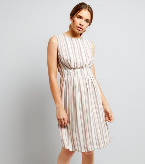 Apricot Pink Stripe Dress | New Look