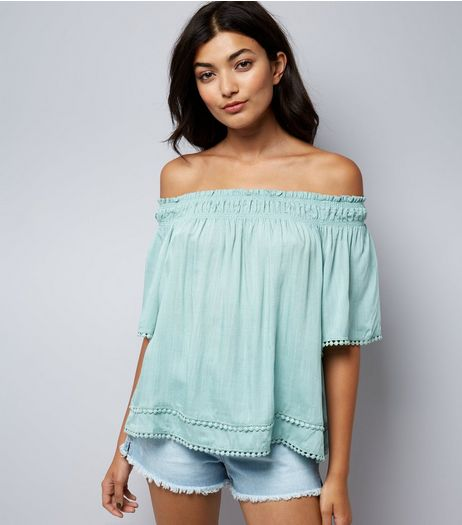 Apricot Mint Green Lace Trim Bardot Neck Top | New Look