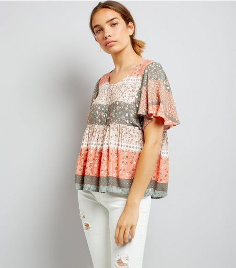 Apricot Coral Floral Print Flutter Sleeve Top | New Look