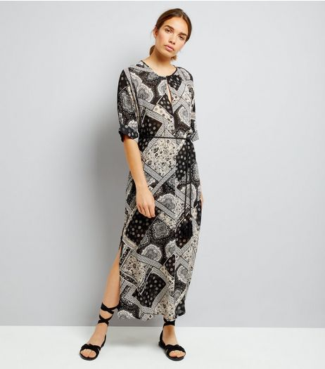 Apricot Black Patchwork Print Side Split Maxi Dress | New Look