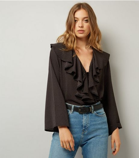 Cameo Rose Black Polka Dot Frill Front Blouse | New Look