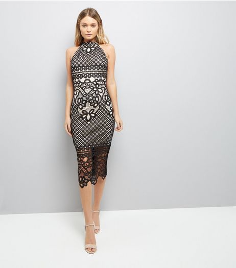Parisian Black Crochet Bodycon Midi Dress | New Look