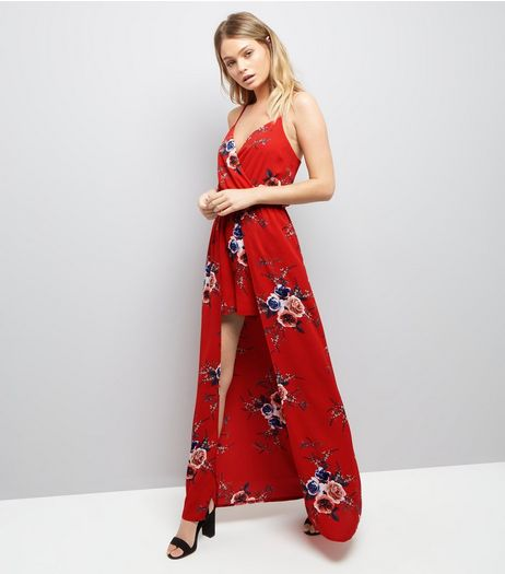 Parisian Red Floral Print Maxi Playsuit  | New Look