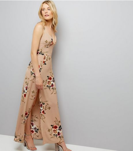 Parisian Cream Floral Print Split Side Maxi Dress | New Look