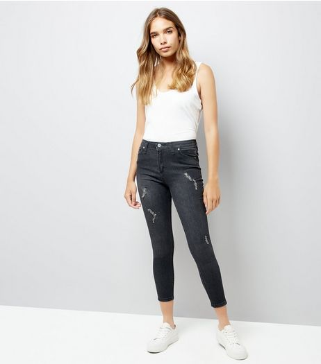Black Bead Skinny Jenna Jeans | New Look