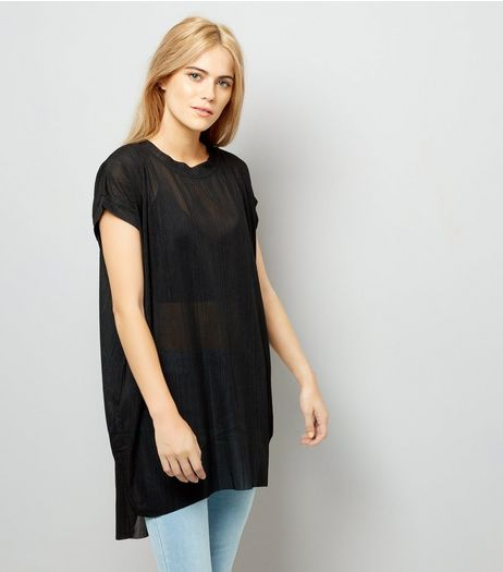 Blue Vanilla Black Oversized Dip Hem Sheer Top | New Look