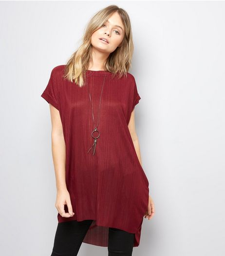 Blue Vanilla Burgundy Dip Hem Necklace Top | New Look
