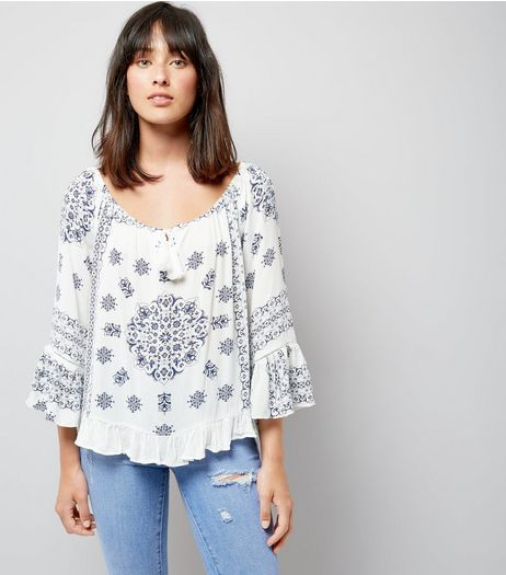 Blue Vanilla White Floral Print Tassel Front Top | New Look