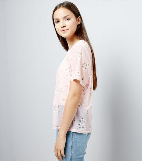 Teens Pink Floral Print Mesh T-Shirt  | New Look