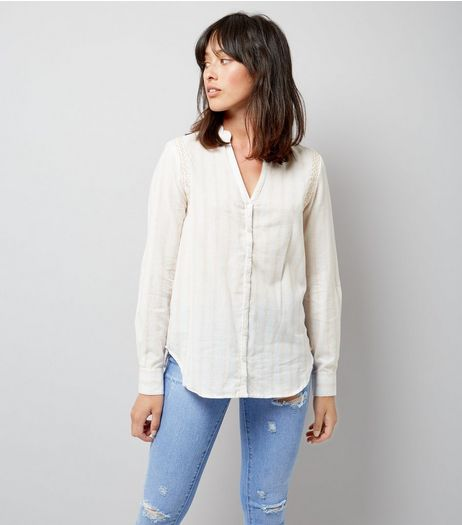 Apricot Shell Pink Stripe Embroidered Shoulder Shirt | New Look