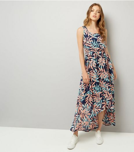 Apricot Blue Tropical Print Dip Hem Maxi Dress  | New Look